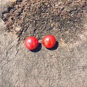 Vintage red iridescent plastic pearl earrings